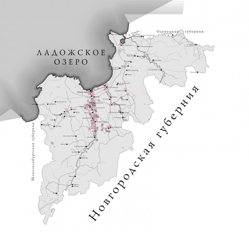Карта Новоладожского уезда